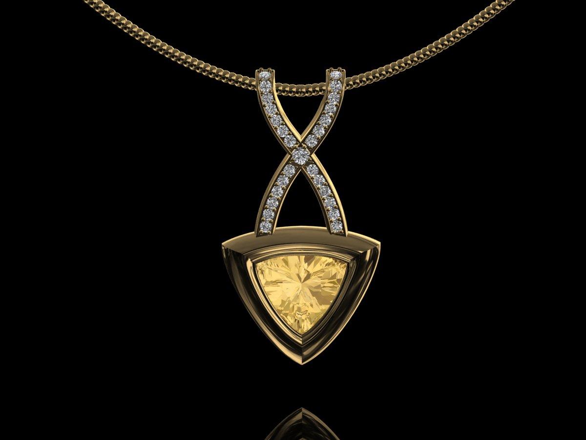Cms bespoke design jewellery golden topaz diamond kiss pendant golden topaz diamond pendant aloadofball Images