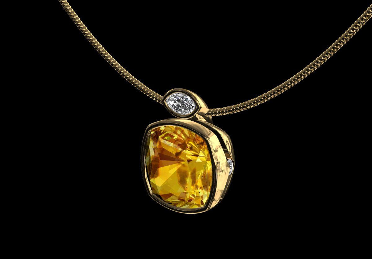 Cms bespoke design jewellery liberty golden citrine diamond golden citrine diamond pendant aloadofball Images