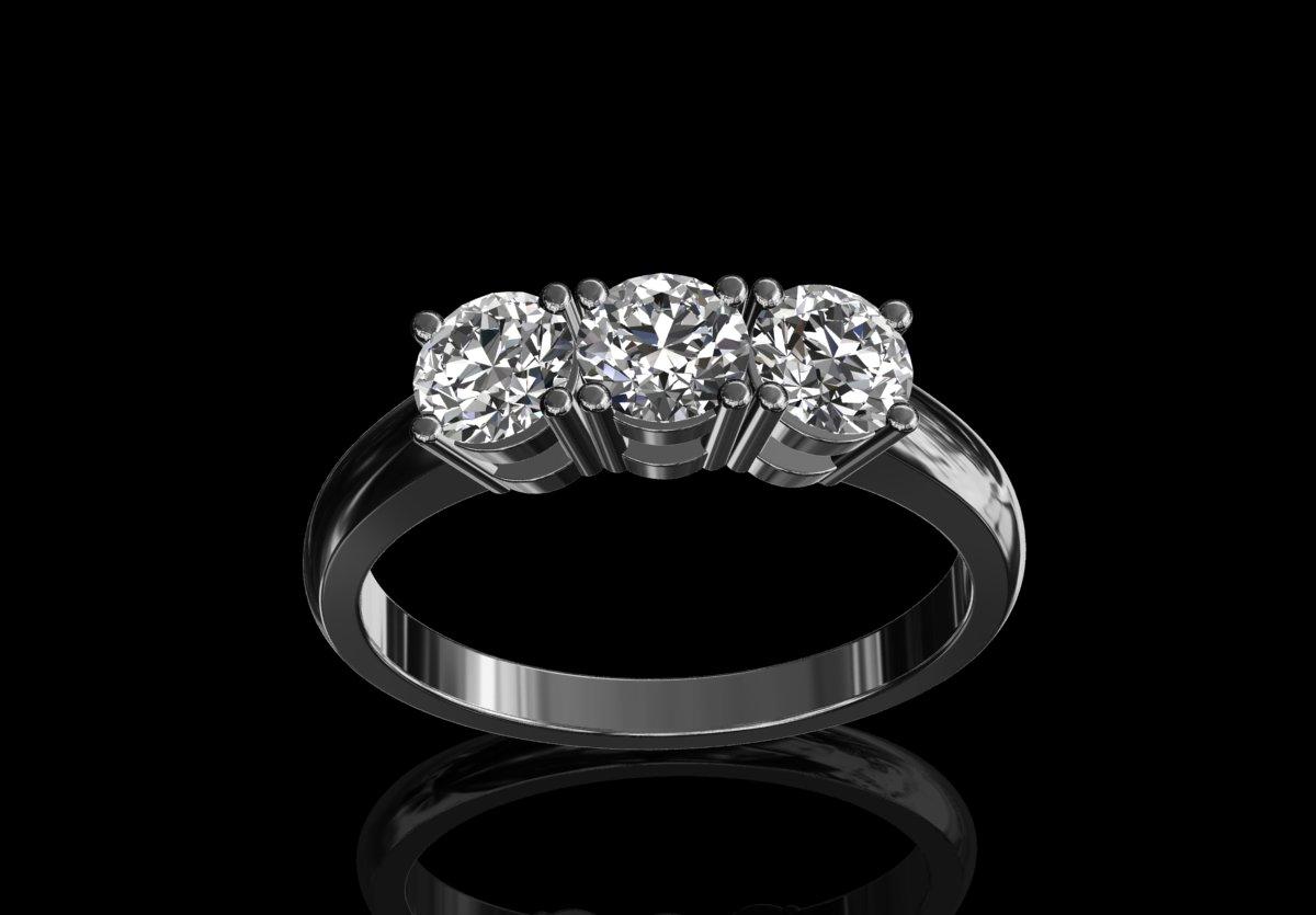CMS Bespoke Design Jewellery | Diamond Trilogy Ring 1.10cts