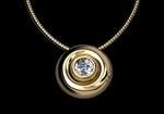 Diamond & Gold Button Pendant by CMS