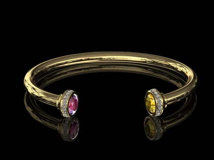 Gold and Gem Bangle