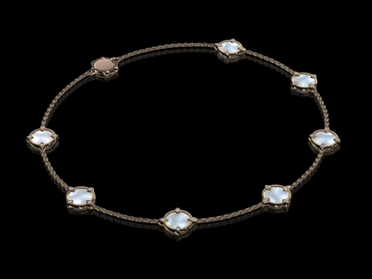 Diamond & Pearl Rose Gold Necklet