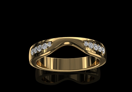 'Kiss' Style Diamond Set Wedding Ring