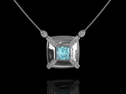 Liberty Aquamarine & Diamond Pendant