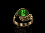 Green Tourmaline & Diamond Ring