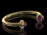 Diamond & Rhodalite Gold Bangle