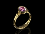 Pink Tourmaline & Diamond Ring 9x7mm