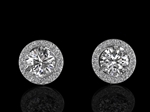 Diamond 3 Claw Stud Earrings and Halo option