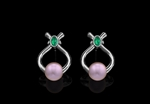Pearl, Emerald & Emerald Earrings