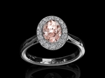 Morganite & Diamond Ring 'Alice' Halo style