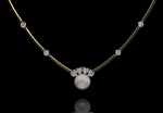 Pearl & Diamond Heart Necklet