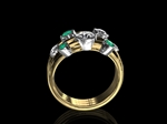 Diamond & Emerald Bars Ring